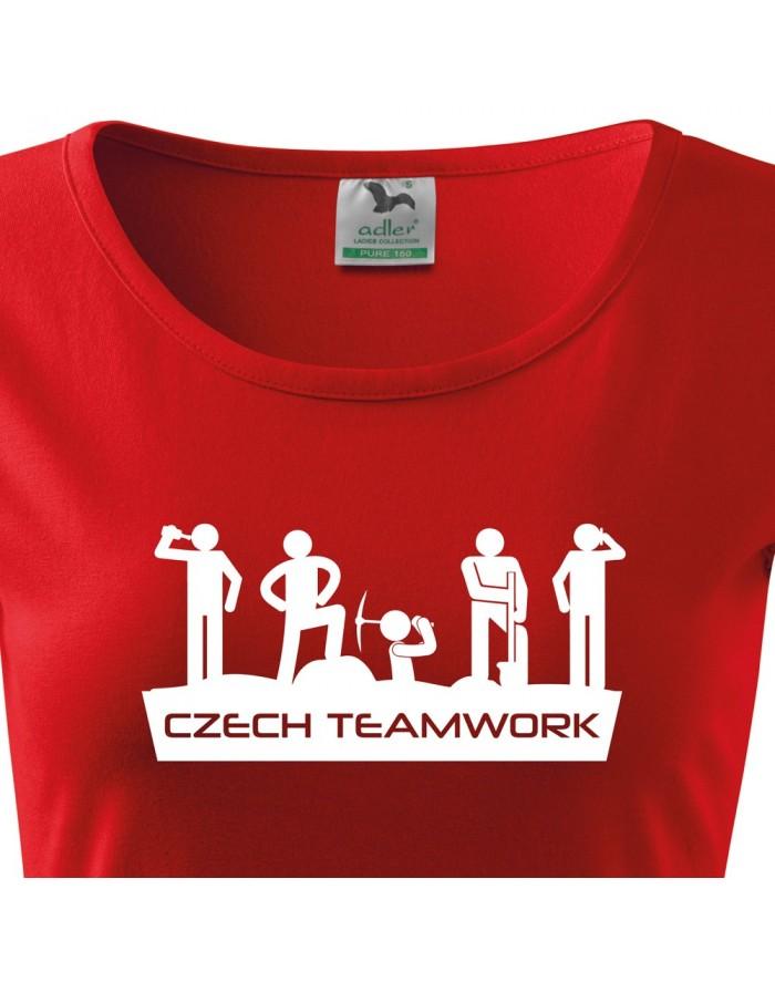 Dámské tričko Czech teamwork, Farba Červená, Veľkosť L Bezvatriko.cz 0196